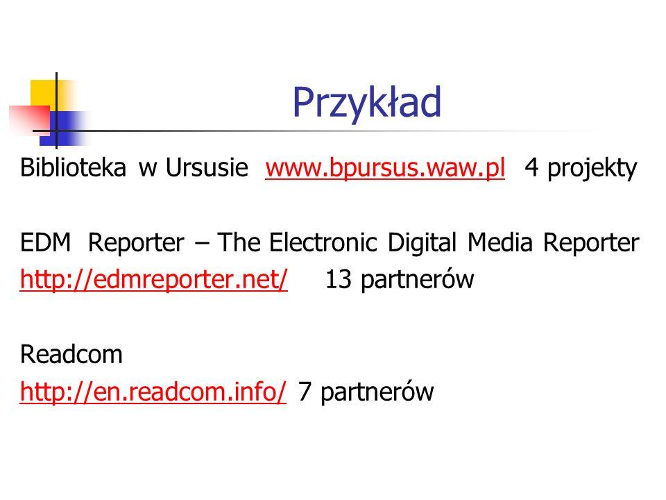 Przykład Biblioteka w Ursusie www.bpursus.waw.pl 4 projekty