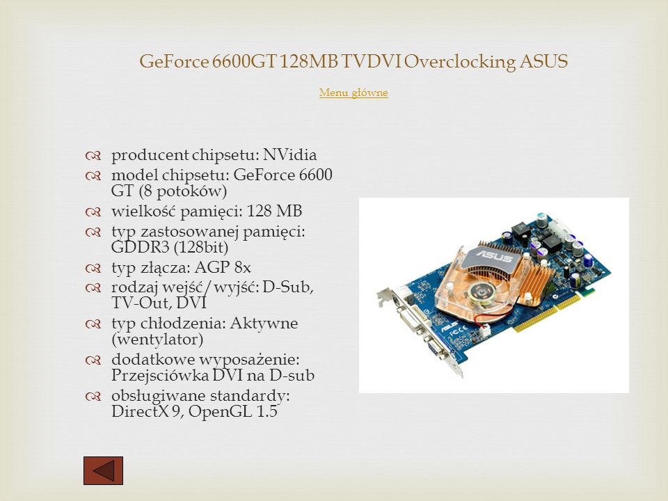 GeForce 6600GT 128MB TVDVI Overclocking ASUS Menu główne
