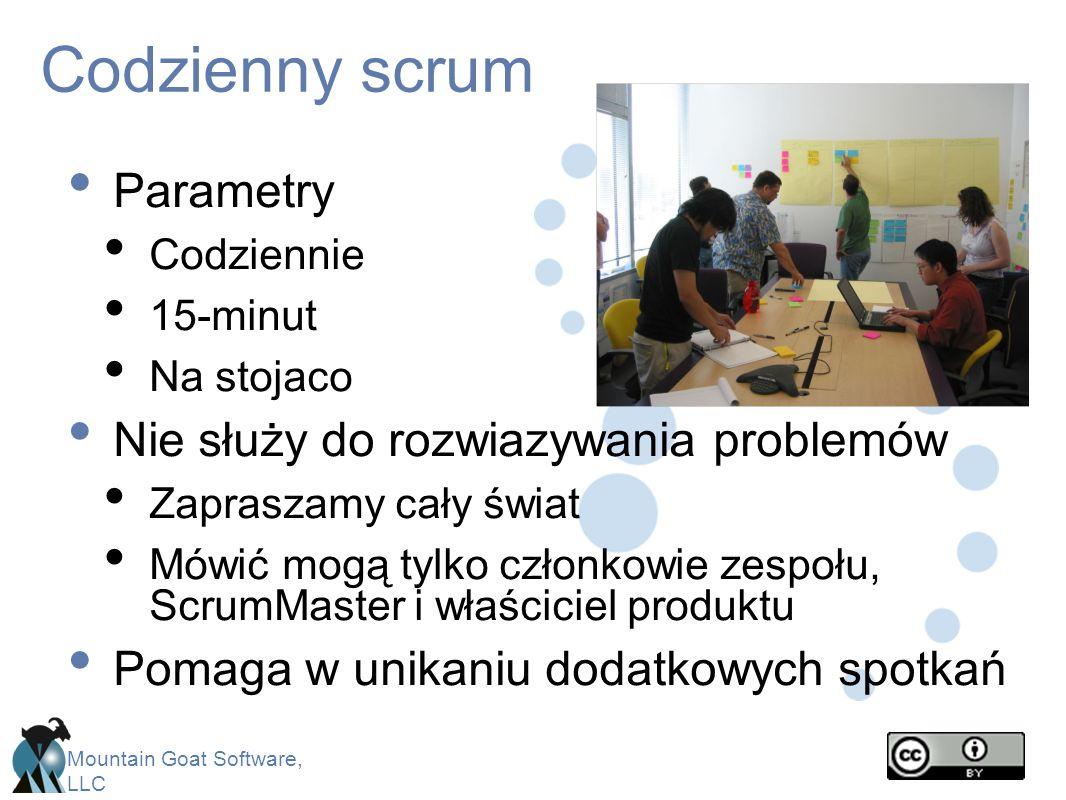 Codzienny scrum Parametry Nie służy do rozwiazywania problemów