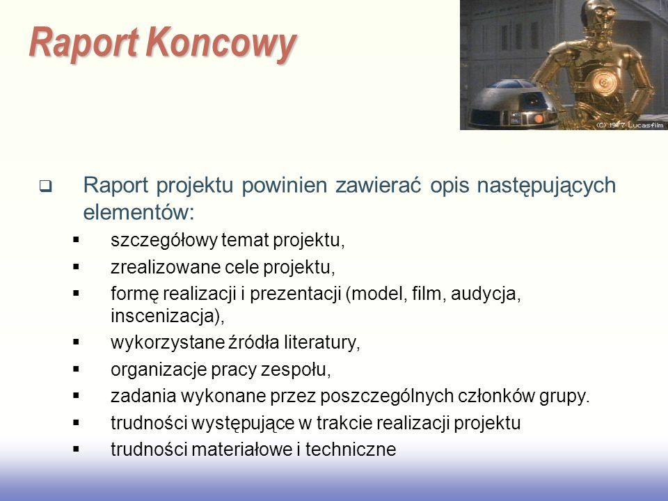2017/3/28 Raport Koncowy. Raport projektu powinien zawierać opis następujących elementów: szczegółowy temat projektu,