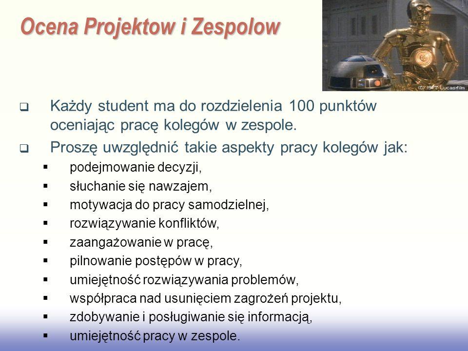 Ocena Projektow i Zespolow