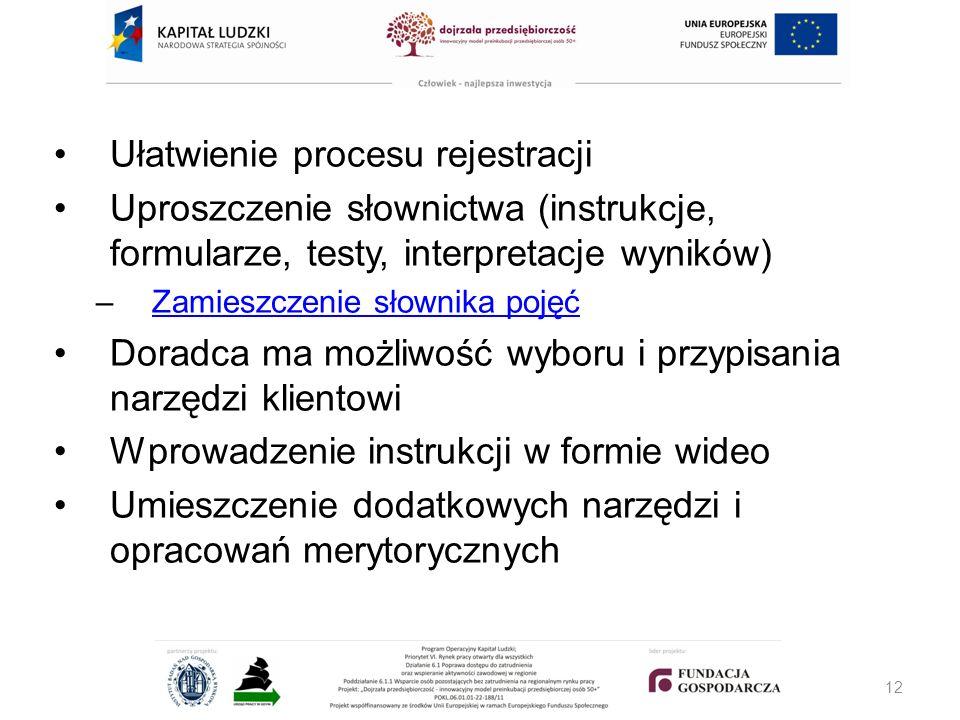 Ułatwienie procesu rejestracji