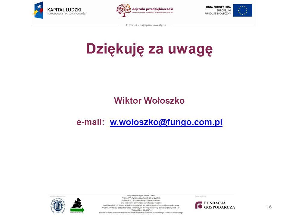 Dziękuję za uwagę Wiktor Wołoszko e-mail: w.woloszko@fungo.com.pl