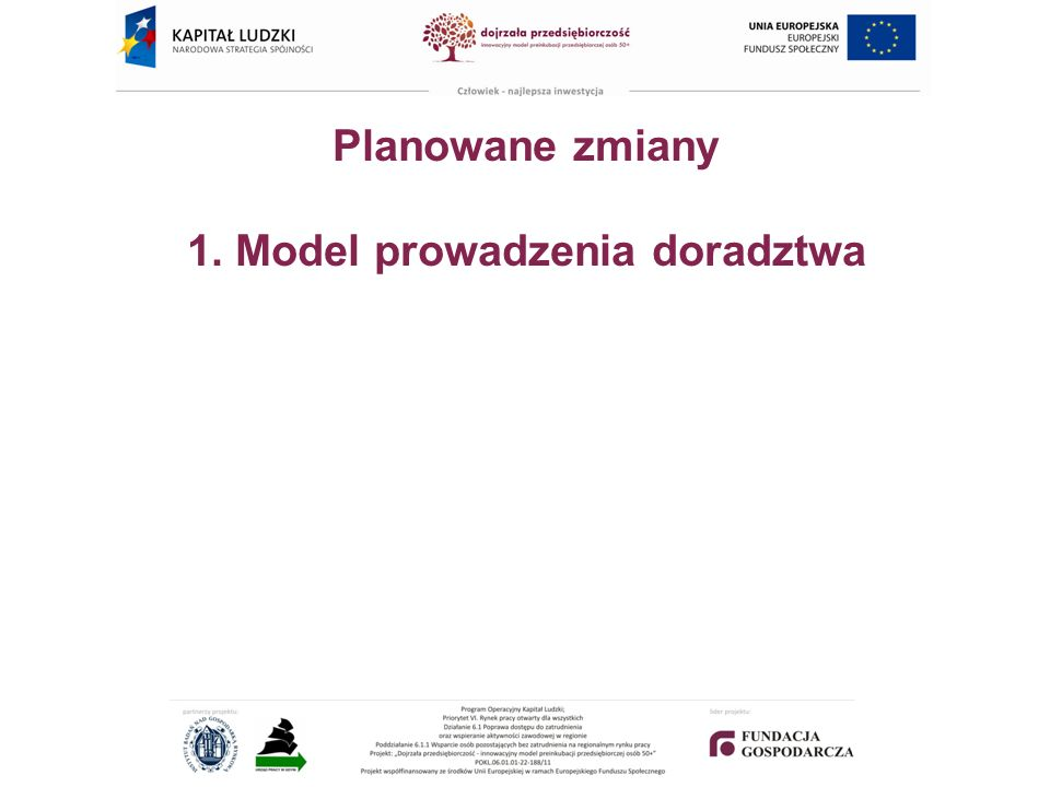 Planowane zmiany 1. Model prowadzenia doradztwa