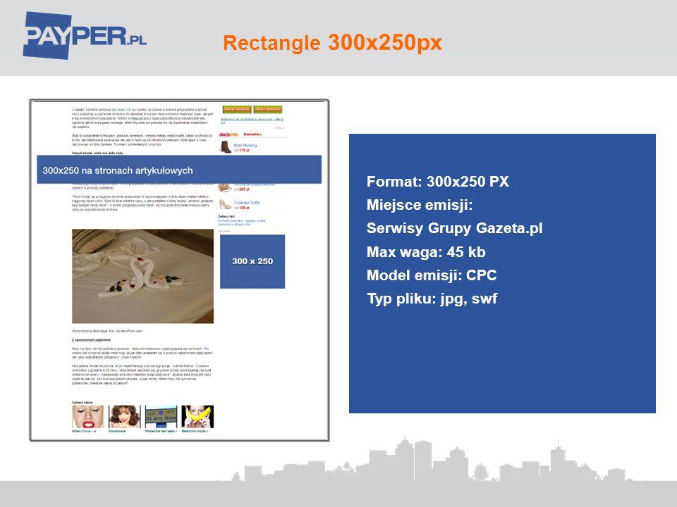 Rectangle 300x250px Format: 300x250 PX Miejsce emisji: