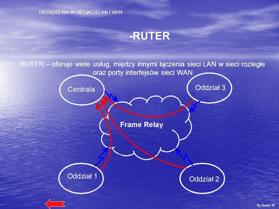 -RUTER RUTER – oferuje wiele usług, między innymi łączenia sieci LAN w sieci rozległe oraz porty interfejsów sieci WAN.