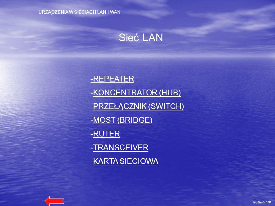 Sieć LAN -REPEATER -KONCENTRATOR (HUB) -PRZEŁĄCZNIK (SWITCH)