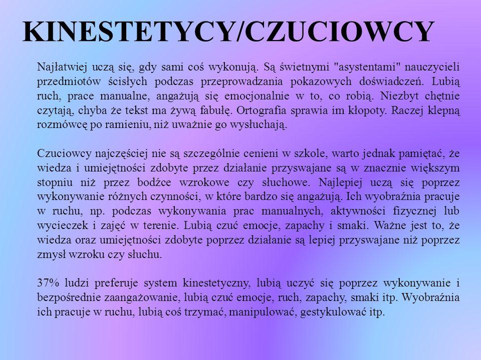 KINESTETYCY/CZUCIOWCY