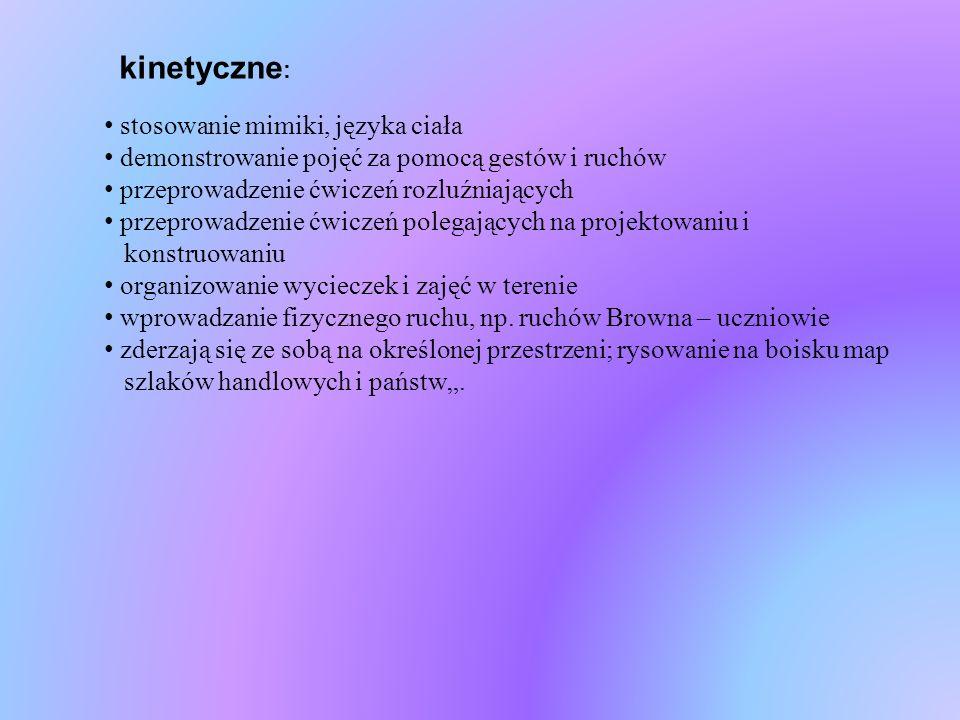 kinetyczne: stosowanie mimiki, języka ciała