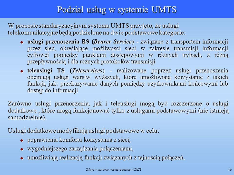Podział usług w systemie UMTS