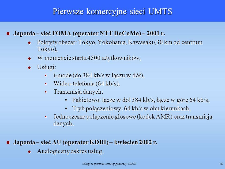 Pierwsze komercyjne sieci UMTS