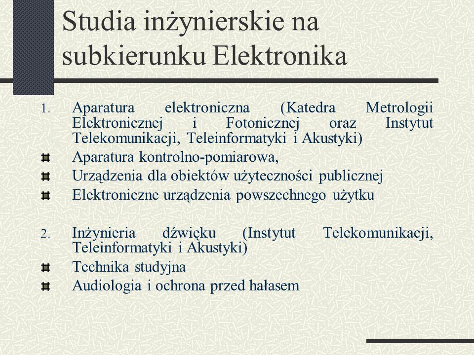 Studia inżynierskie na subkierunku Elektronika