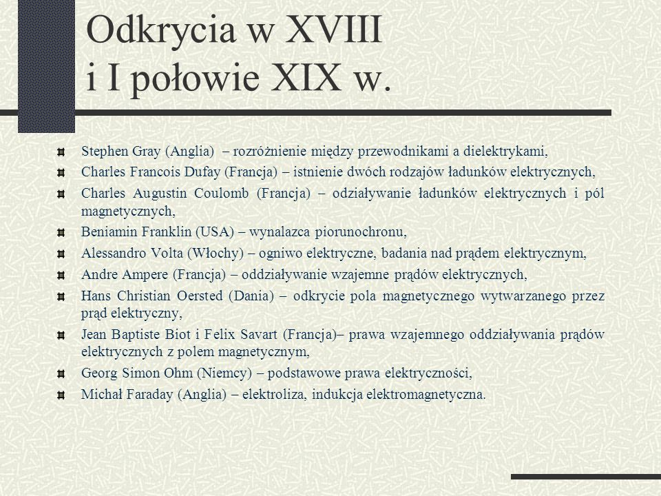 Odkrycia w XVIII i I połowie XIX w.