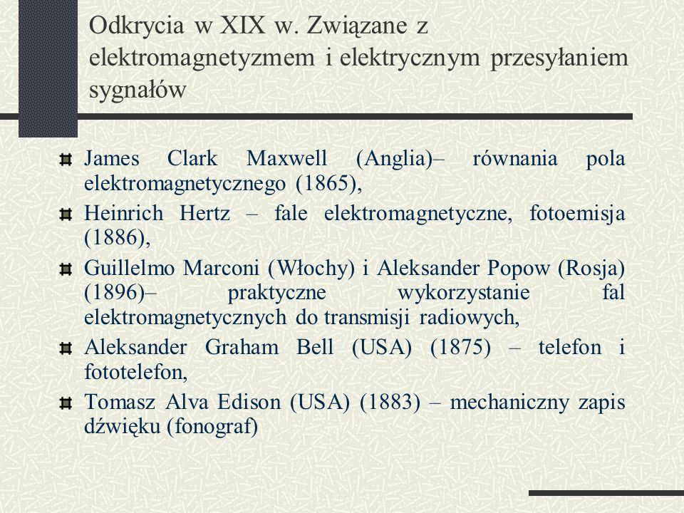 Odkrycia w XIX w. Związane z elektromagnetyzmem i elektrycznym przesyłaniem sygnałów