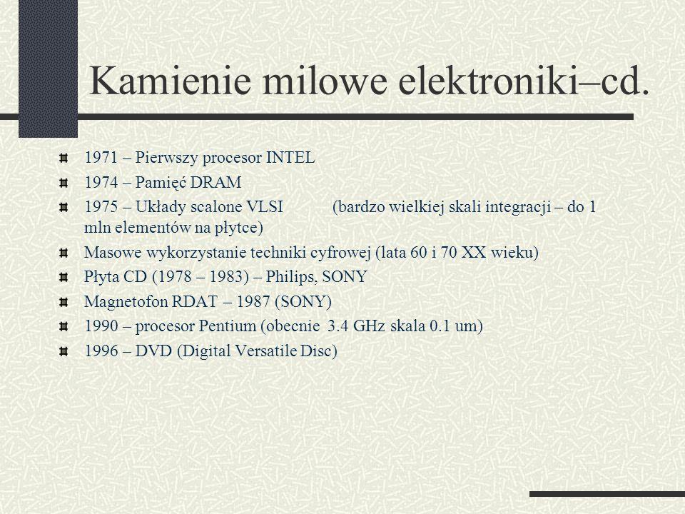 Kamienie milowe elektroniki–cd.