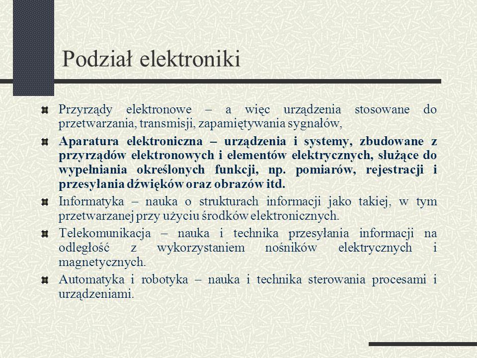 Podział elektroniki Przyrządy elektronowe – a więc urządzenia stosowane do przetwarzania, transmisji, zapamiętywania sygnałów,
