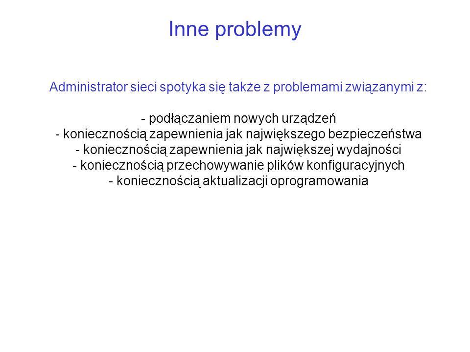 Inne problemy Administrator sieci spotyka się także z problemami związanymi z: podłączaniem nowych urządzeń.