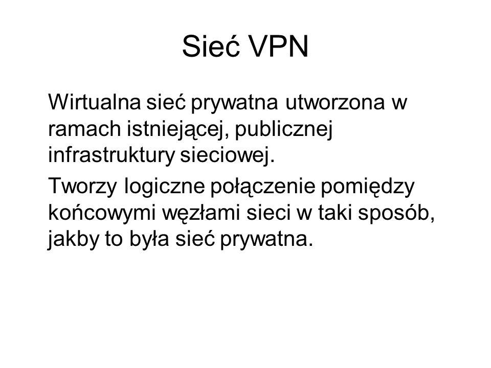 Sieć VPN Wirtualna sieć prywatna utworzona w ramach istniejącej, publicznej infrastruktury sieciowej.