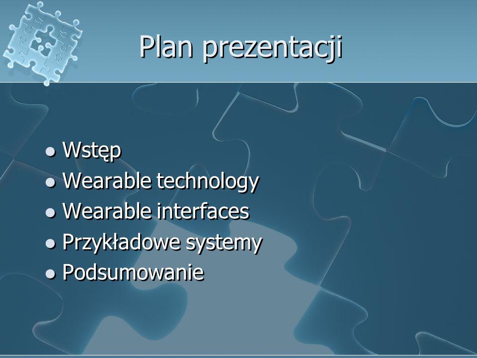 Plan prezentacji Wstęp Wearable technology Wearable interfaces