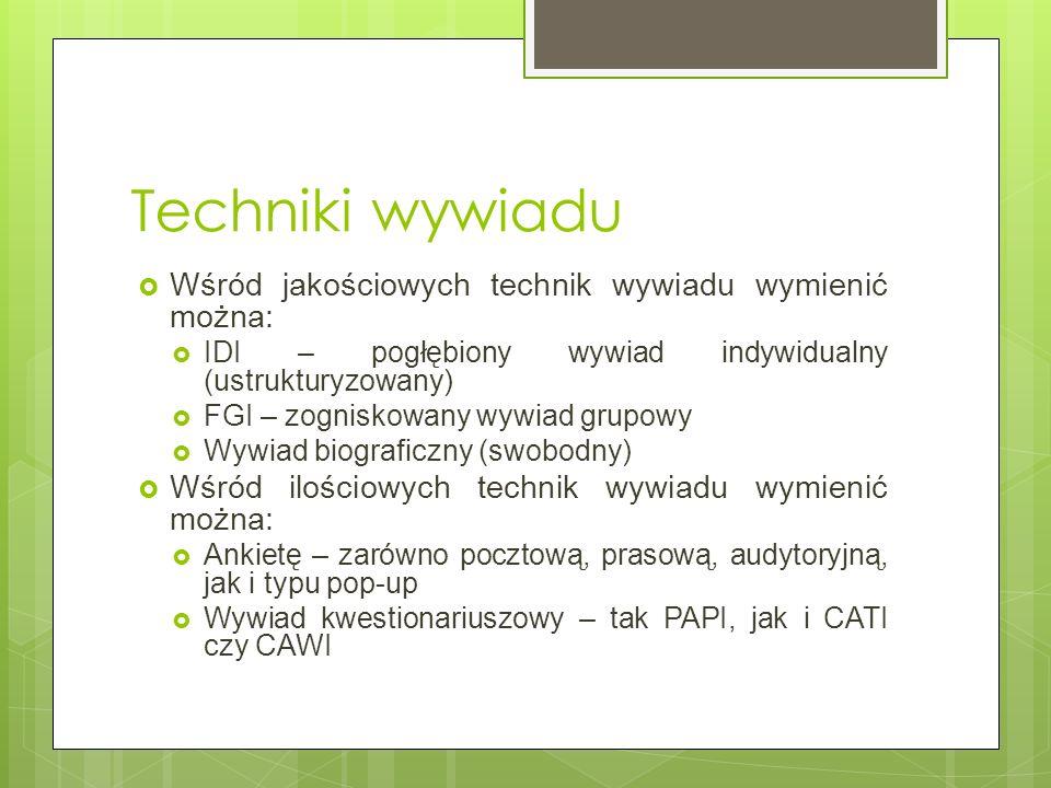 Techniki wywiadu Wśród jakościowych technik wywiadu wymienić można:
