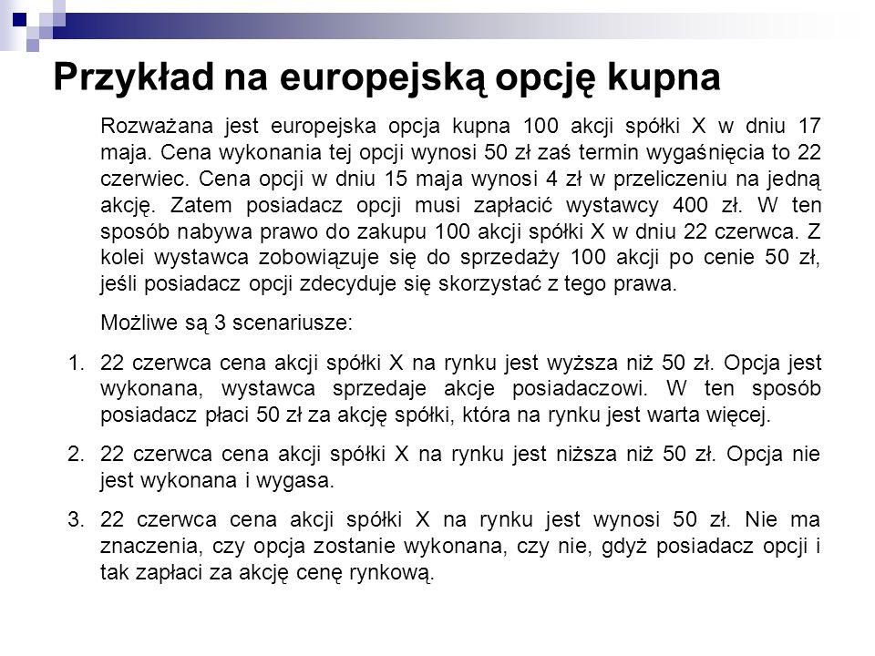 Przykład na europejską opcję kupna