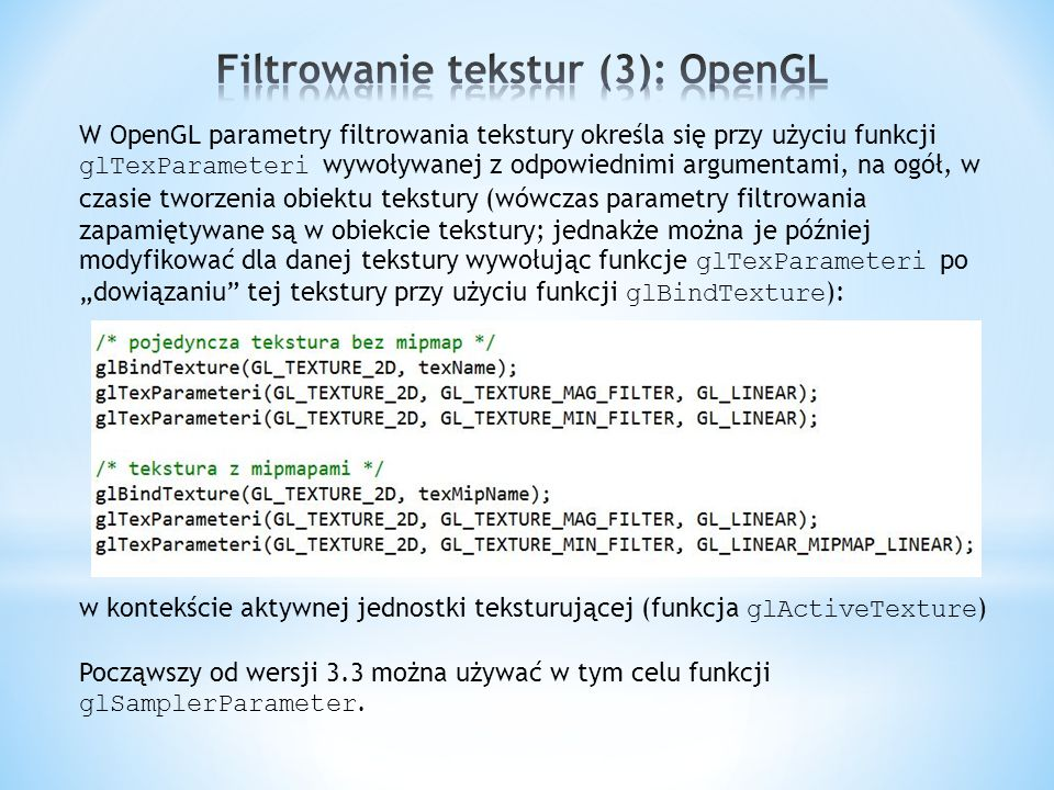 Filtrowanie tekstur (3): OpenGL