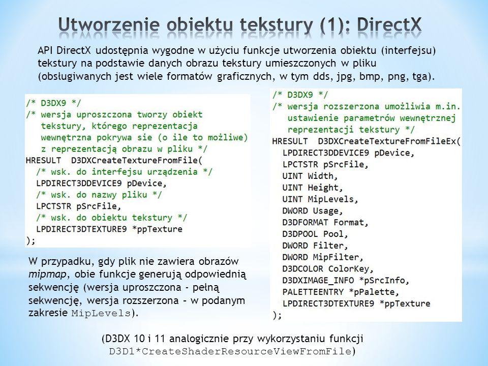 Utworzenie obiektu tekstury (1): DirectX