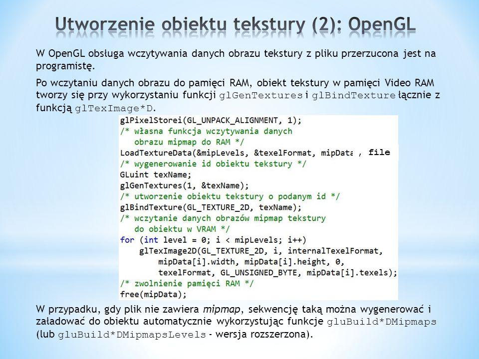 Utworzenie obiektu tekstury (2): OpenGL