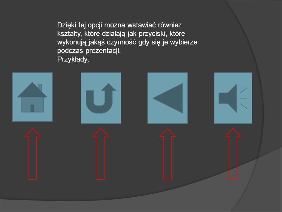 Dzięki tej opcji można wstawiać również kształty, które działają jak przyciski, które wykonują jakąś czynność gdy się je wybierze podczas prezentacji.
