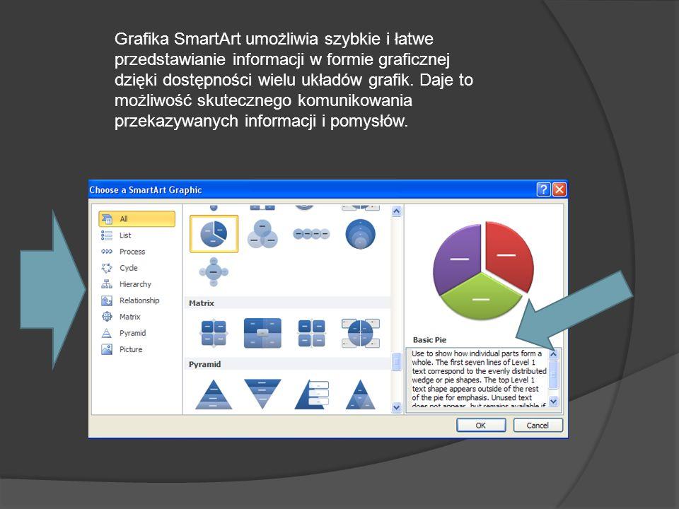 Grafika SmartArt umożliwia szybkie i łatwe przedstawianie informacji w formie graficznej dzięki dostępności wielu układów grafik.
