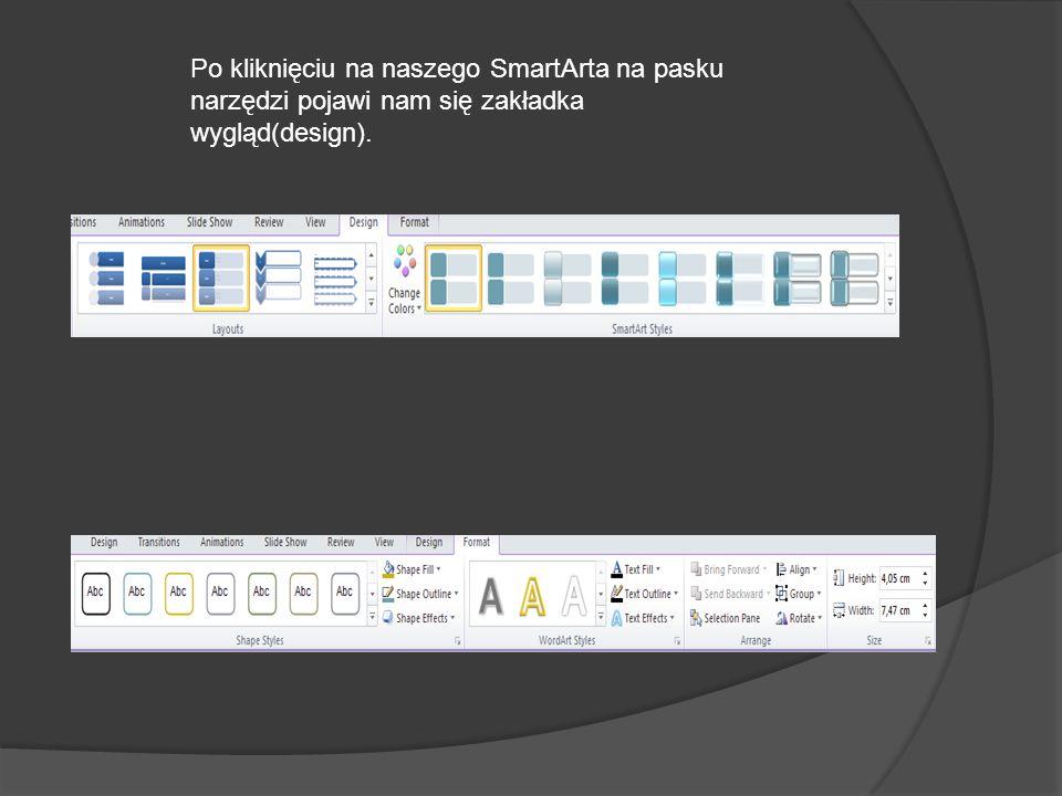 Po kliknięciu na naszego SmartArta na pasku narzędzi pojawi nam się zakładka wygląd(design).