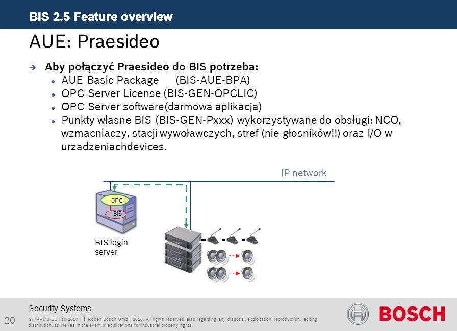 AUE: Praesideo Aby połączyć Praesideo do BIS potrzeba: