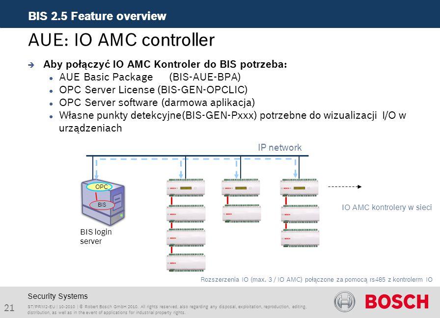 AUE: IO AMC controller Aby połączyć IO AMC Kontroler do BIS potrzeba: