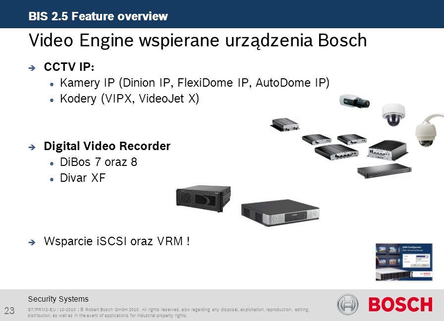 Video Engine wspierane urządzenia Bosch