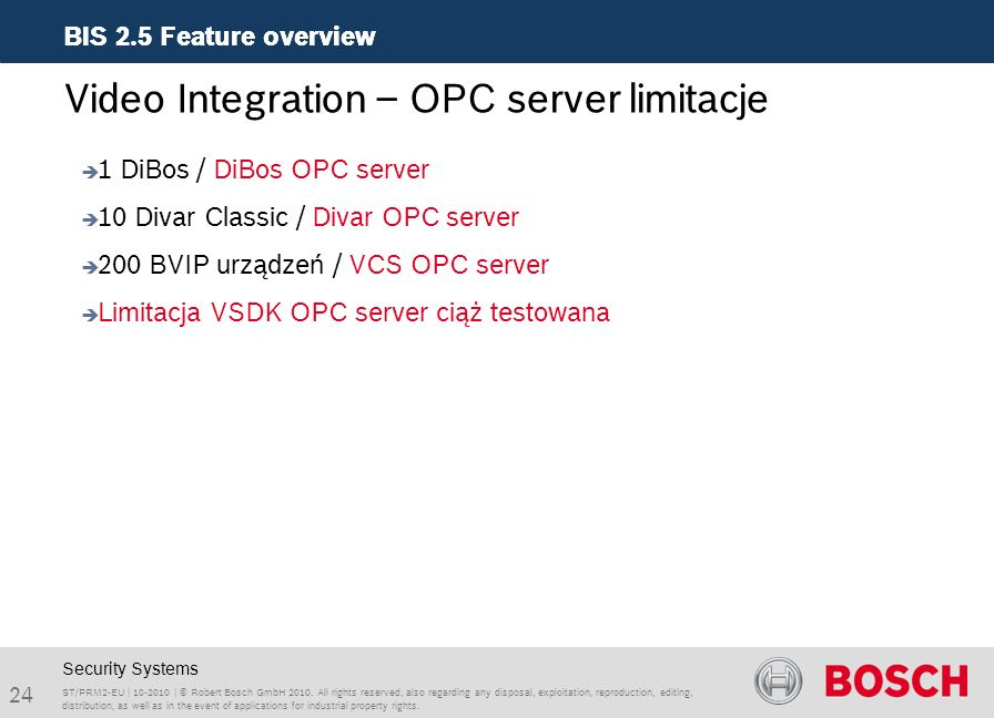 Video Integration – OPC server limitacje