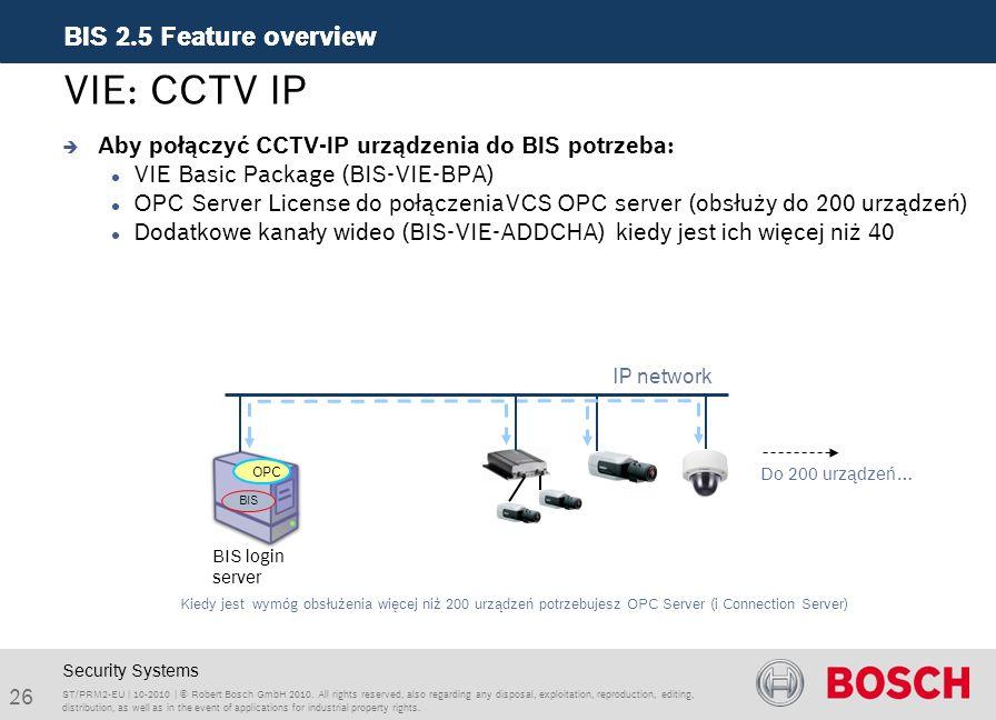VIE: CCTV IP Aby połączyć CCTV-IP urządzenia do BIS potrzeba: