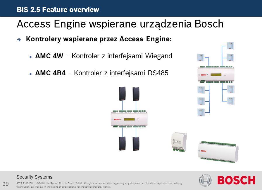 Access Engine wspierane urządzenia Bosch