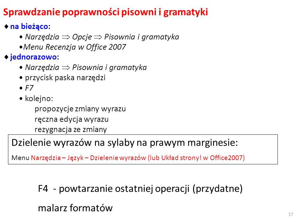 Sprawdzanie poprawności pisowni i gramatyki