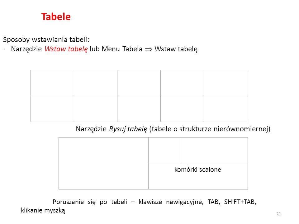 Tabele Sposoby wstawiania tabeli: