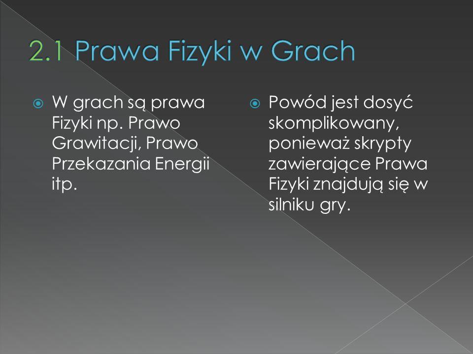 2.1 Prawa Fizyki w Grach W grach są prawa Fizyki np. Prawo Grawitacji, Prawo Przekazania Energii itp.