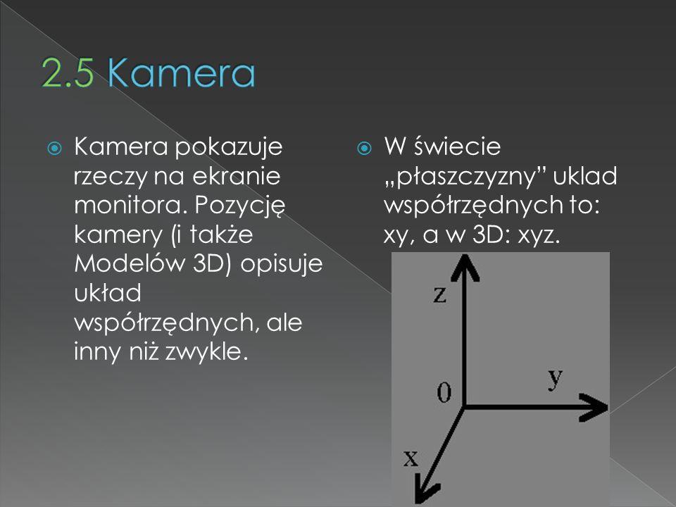 2.5 Kamera Kamera pokazuje rzeczy na ekranie monitora. Pozycję kamery (i także Modelów 3D) opisuje układ współrzędnych, ale inny niż zwykle.