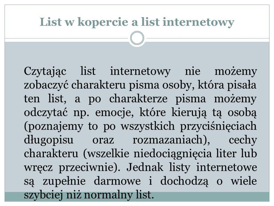 List w kopercie a list internetowy
