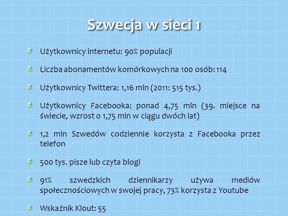 Szwecja w sieci 1 Użytkownicy internetu: 90% populacji