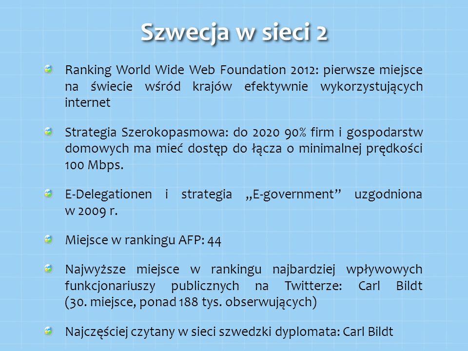 Szwecja w sieci 2 Ranking World Wide Web Foundation 2012: pierwsze miejsce na świecie wśród krajów efektywnie wykorzystujących internet.
