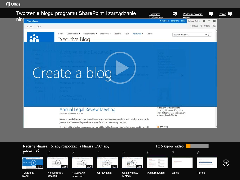 Tworzenie blogu programu SharePoint i zarządzanie nim