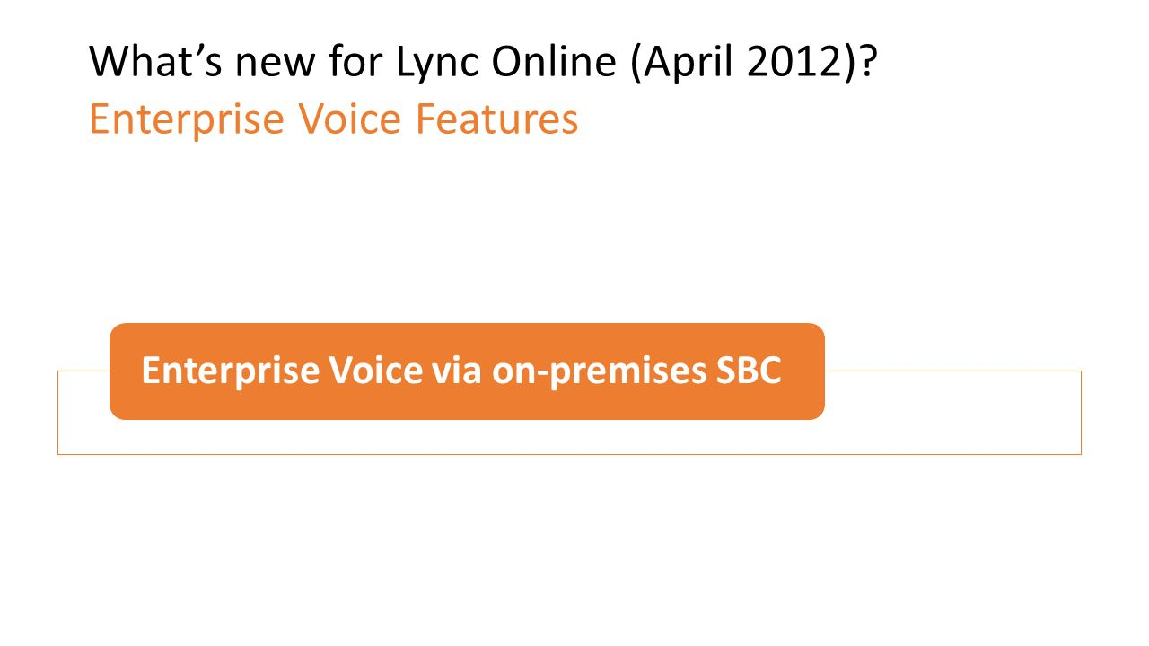 What's new for Lync Online (April 2012) Enterprise Voice Features