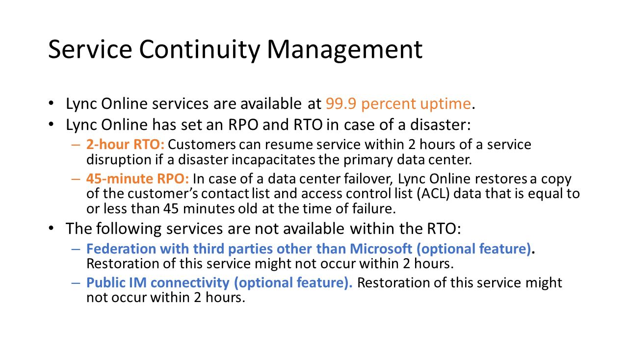 Service Continuity Management