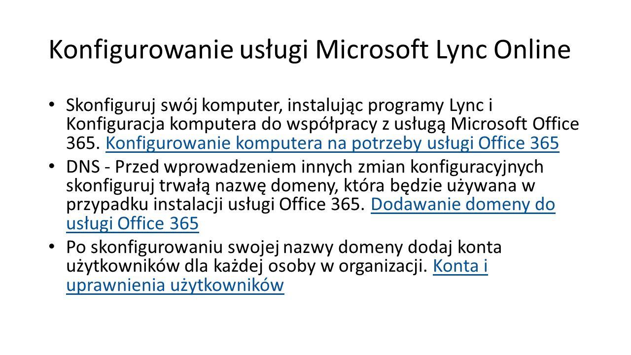 Konfigurowanie usługi Microsoft Lync Online