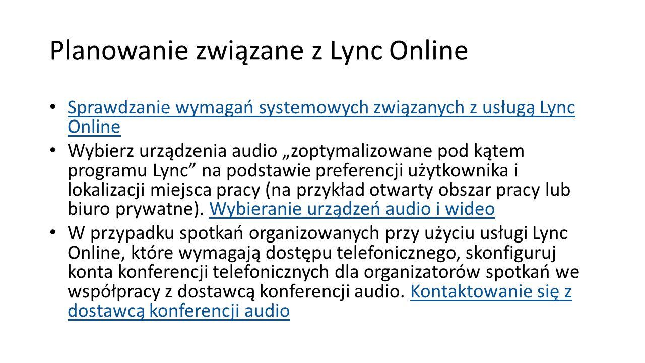 Planowanie związane z Lync Online