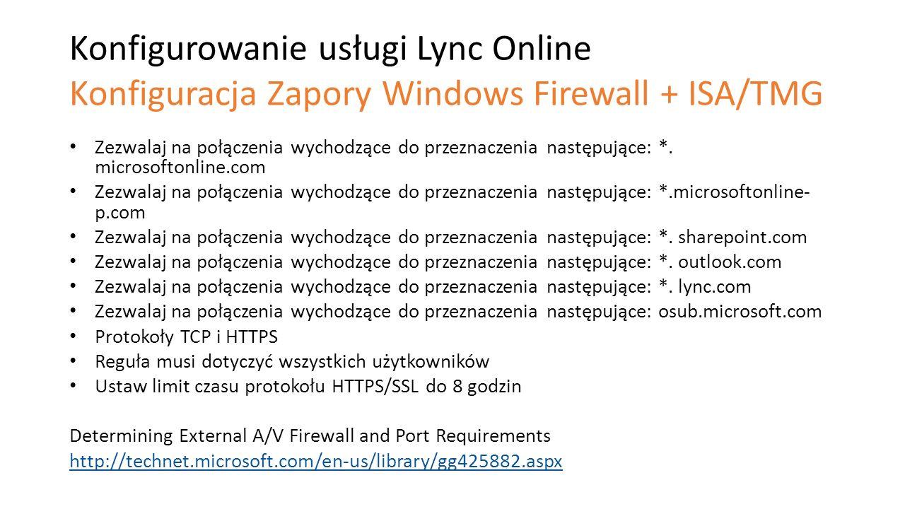 Konfigurowanie usługi Lync Online Konfiguracja Zapory Windows Firewall + ISA/TMG